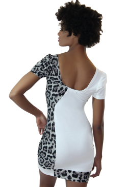 white cheetah print dress